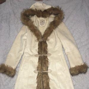 VINTAGE Mid Century Small Faux Fur Long Tan Coat